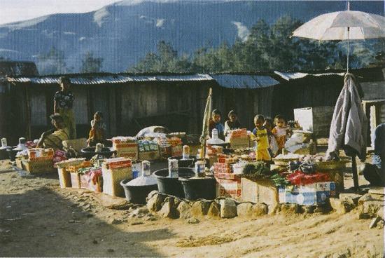 ディリ中央部の山岳地帯の市場
